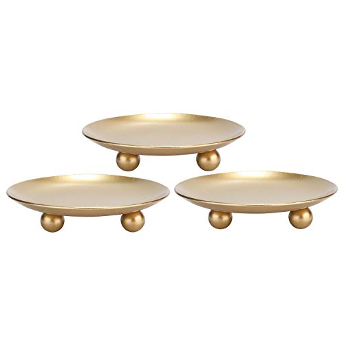 Scwhousi Iron Plate Candle Holder, Gold, Decorative Iron Pillar Candle Holder, Set of 3,Pedestal Candle Stand for LED & Wax Candles,Spa, - Stand Candle Holder