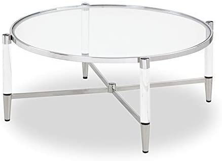 Strange DNA Evelyn Coffee Table Round Tea Cocktail Accent Tempered Glass Table Glass Acrylic Legs Stainless Steel Frame Furniture for Bedroom, Dining Room or More – 40 x 40 x 16