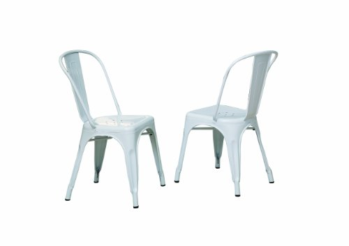 Monarch Glossy Metal 2-Piece Cafe Chair, 33-Inch, White