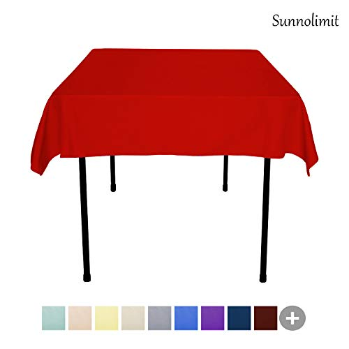 Sunnolimit Tablecloth - 54 x 54 Inch -Red-Square Polyester Table Cloth, Wrinkle,Stain Resistant - Great for Buffet Table, Parties, Holiday Dinner & More