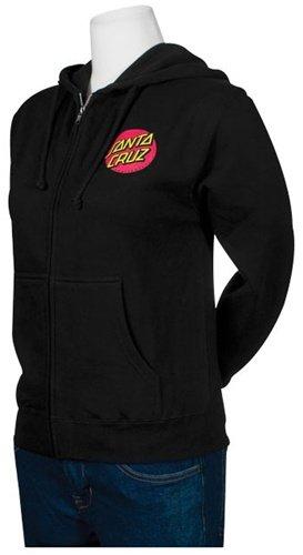 NHS Santa Cruz Classic Dot Hooded Girls Zip Sweats,Black,X-Large