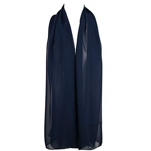 HatToSocks Chiffon Scarf Sheer Wrap Voile Beach Sarong for Women - Navy Blue ()