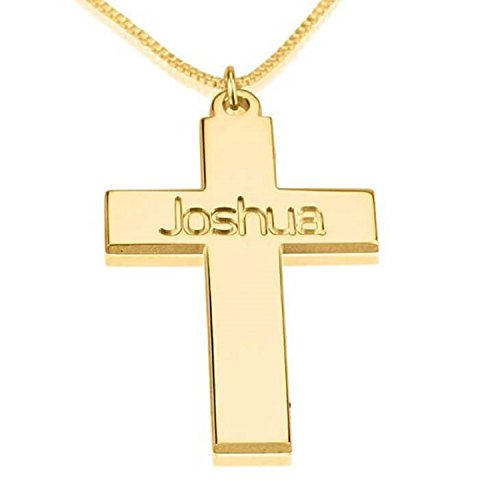 Personalized Custom 24K Gold Plated Cross Necklace with Name Jewelry (16)
