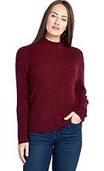 Mariyaab Women S 100 Cashmere Soft Ribbed Long Sleeve High Neck Sweater 1785 Burgundy L