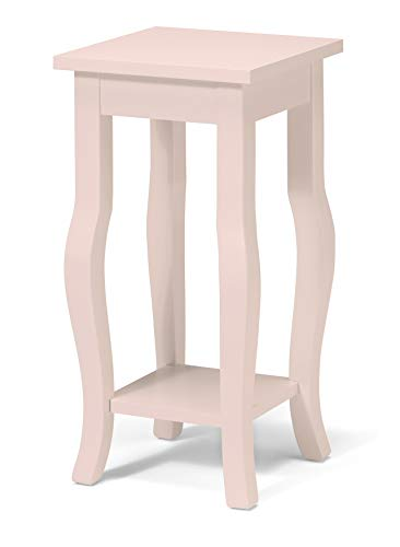 Kate and Laurel Lillian Wood Pedestal End Table with Curved Legs and Shelf, Pale Pink