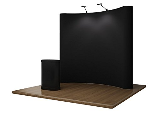 8FT POP UP DISPLAY **PREMIUM ASPEN SERIES** Portable Trade Show Booth Exhibit - Includes Aspen Podium Counter and LED Lights!!! by Display Overstock