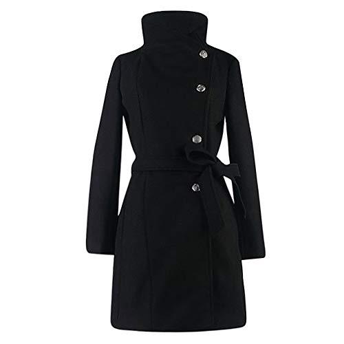 ZEFOTIM Womens Winter Lapel Wool Coat Trench Jacket Long Sleeve Overcoat Outwear(X-Large,Black)