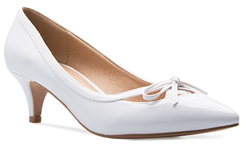 (OLIVIA K Women's Classic Closed Toe D'Orsay Bow Kitten Heel Pump | Dress, Work, Party Mid Heeled Pumps White)