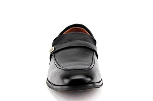 Mens 19501 Classic Round Toe Slip On Loafers Dress Shoes Black Lq7E2paS0