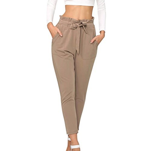 Belted Bootie - vermers Clearance Sale! Women's Ankle-Length Pants Tight Pants Casual Pencil Pants (M, Khaki)