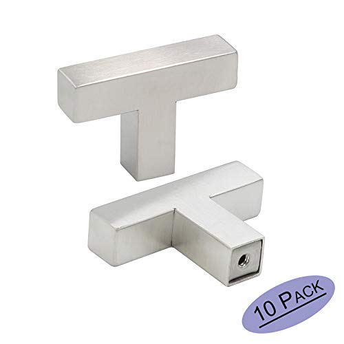 10Pack Goldenwarm Single Hole Square Bar Cabinet Drawer Knob Brushed Nickel Stainless Steel Modern Hardware for Kitchen and Bathroom Cabinets Cupboard 50mm/2in Overall Length