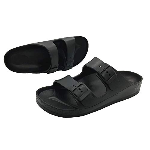 LuffyMomo Adjustable Slip on Eva Double Buckle Slides for Womens Mens (6 B (M) US Women / (Insole Length) 9.45 inch, Black) by LuffyMomo (Image #2)