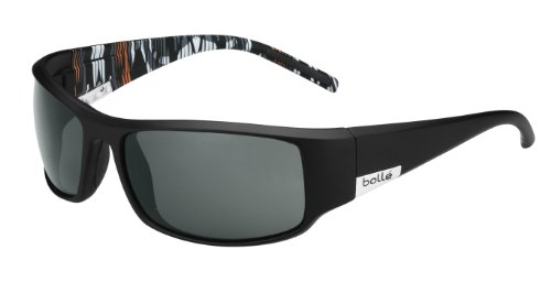 Bolle King Sunglasses, Matte Black/Orange Zebra Frame, True Neutral Smoke (Bolle Wrap Around Sunglasses)