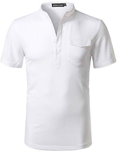 Whatlees Mens Hipster Slim Fit Basic Solid Henley V Neck Short Sleeve T Shirt Tops with Flap Pocket White (Flap Pocket Shirt)