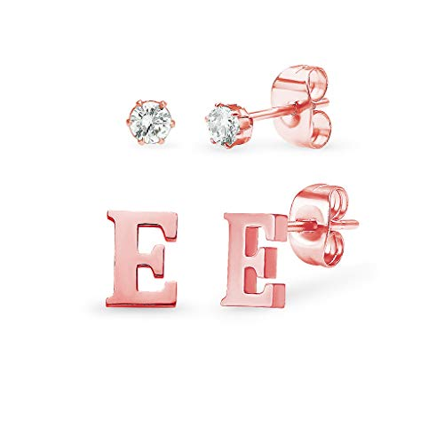 Stainless Steel Rose Gold Tone Alphabet Initial Letter Tiny Earring Studs With Cubic Zirconia 3mm Set Letter E ()