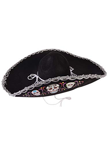 Forum Novelties Women's Day of The Dead-DLX Sombrero, black, Standard]()