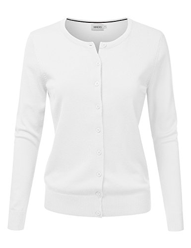 NINEXIS Women's Long Sleeve Button Down Soft Knit Cardigan Sweater White XL