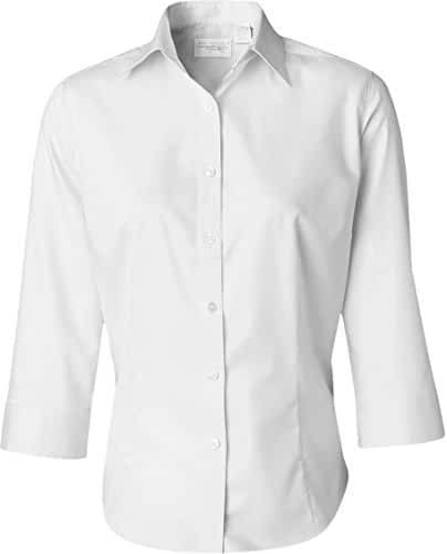 Van Heusen V0527 Ladies' 3/4-Sleeve Dress Twill Button Down Shirt