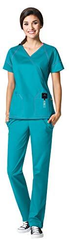 - WonderWink Seven Flex Women's Medical Uniforms Scrub Set Bundle- 6702 Crossover Mock Wrap Scrub Top & 5702 Cargo Scrub Pants & MS Badge Reel (Teal Blue - XX-Large)