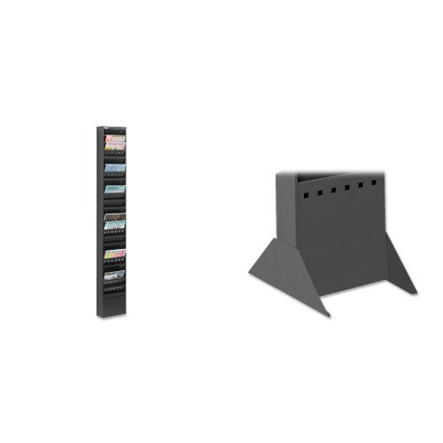 Safco Products 4322BL Steel Magazine Rack, 23 Pocket, with 4323BL floor standing base, Black