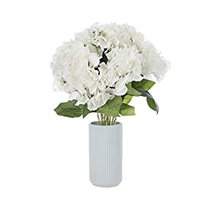 Sunrisee Artificial Flowers 5 Big Heads Fake Silk Hydrangea Flowers for Home Hotel Wedding Party Garden Floral Decor, White 23