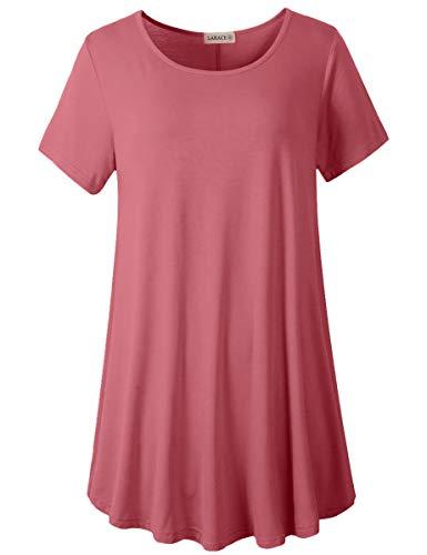 LARACE Women Plus Size Swing Tunic Top Short Sleeves T-Shirt(3X, Grayish Pink)