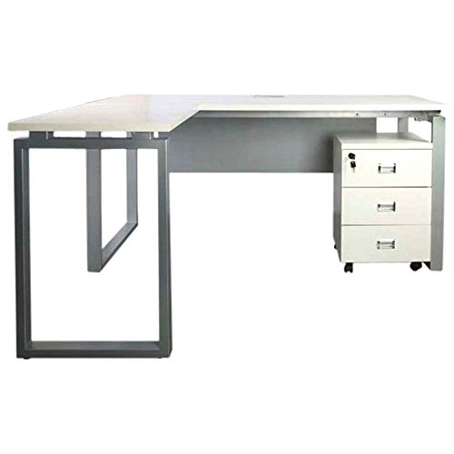 Mahmayi Carre 5114L Modern Workstation Desk Contemporary Look Office Table With 3 Drawers' Mobile Storage - W140Cms X D160Cms X H75Cms (White) (160cm, White)