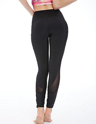 Icyzone Women's Activewear Printed Sports Running Yoga Tights Legging with Mesh (XL, BLACK)
