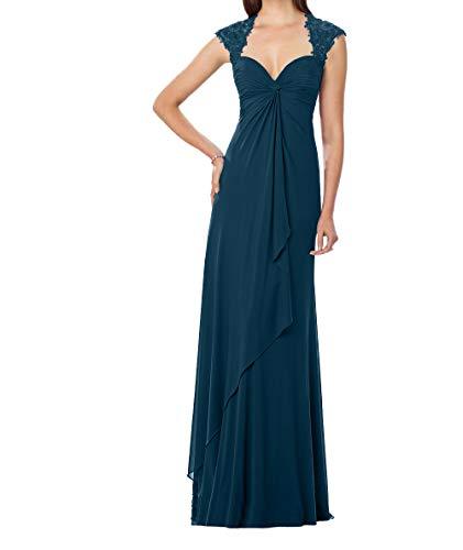 Dunkel Promkleider Blau Lang Etuikleider Festlichkleider Brautmutterkleider Charmant Spitze Abendkleider Damen Elegant OZvn6nqzY