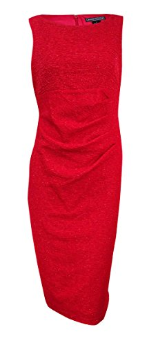 Jessica Howard Womens Glitter Sleeveless Cocktail Dress Red 12