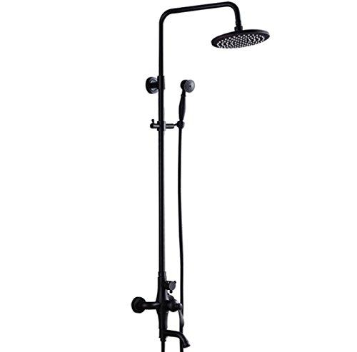 Tochange Rainfall Bath Shower System,Single Handles Two Holes Ceramic Valve Shower Faucet,Handshower+Shower Head+Adjustable Riser Rail