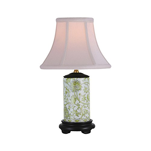 Porcelain Vase Table Lamp - White and Green Tapestry Cylindrical Porcelain Vase Table Lamp 15