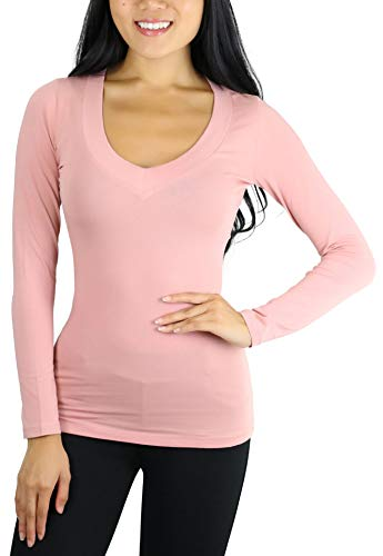 ToBeInStyle Women's Long Sleeve V-Neck T-Shirt - Mauve - 1X ()