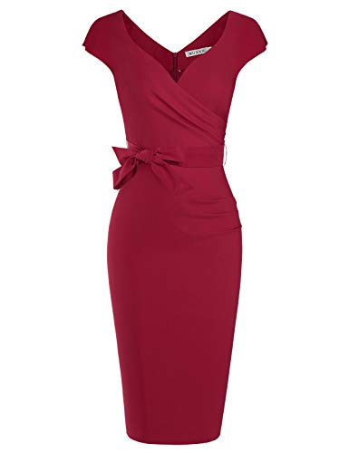 MUXXN Women's Classic Retro Deep V-Neck Ruched Knee Length Bridesmaid Dress (Burgundy S)