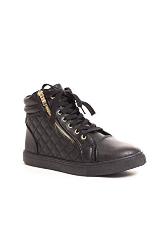 Leatherette Zipper (Soho Shoes Women's Leatherette Quilted Zipper Lace Up High Top Sneakers)