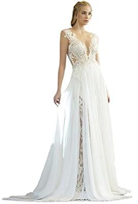 Keting Women's Deep V Neck Applique Detachable Chiffon Skirt Beach Wedding Dress