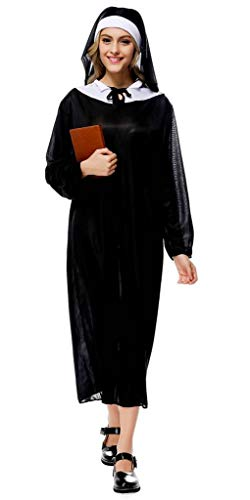 Jixin4you Nun Cosplay Costume Ladies Religious Vicars Black