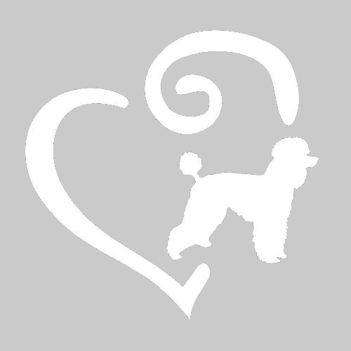 Swirl Heart Dog Breed Decal (Poodle, White)