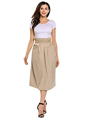 Zeagoo Women's High Waist Stretch Pleated Casual Maxi Skirts Long Skirts with Pocket