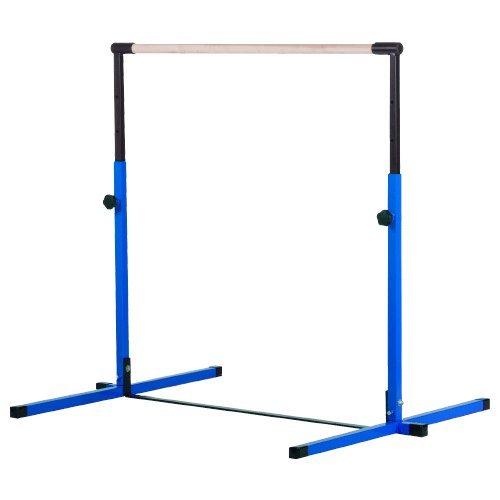 Little Gym Adjustable Blue Horizontal Bar, 12in High Purple Balance Beam, 8ft Pink/Purple Gymnastics Mat