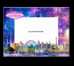 LAS VEGAS STRIP GLASS PICTURE FRAME: NIGHT AND DAY STRIP BACKGROUND (HOLD 1 -4 X 6 INCH - Frame Vegas