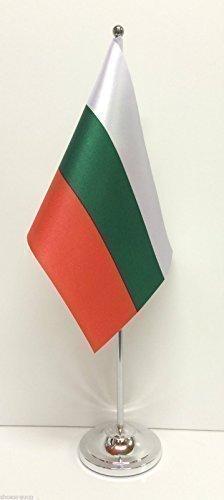 Bulgaria, Bandiera da tavolo con Base cromata-Set di bandierine emblems gifts