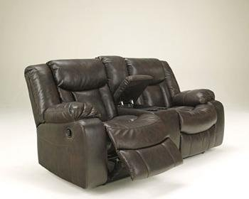 Signature Design by Ashley Carnell Brown Reclining Power Loveseat with Console For Sale