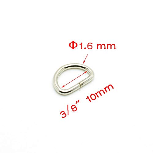100pcs 3/8(10mm) Metal D Ring Non Welded Nickel Plated Belt Buckle