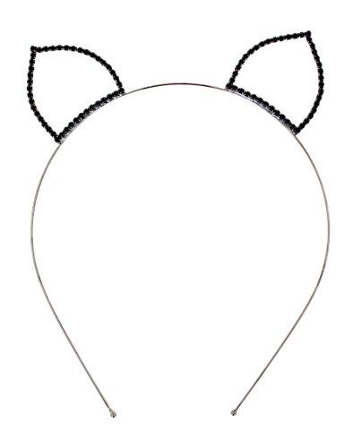 Crystal Ave Women's Halloween Costume Crystal Tiara Headband (Black Cat Ears)