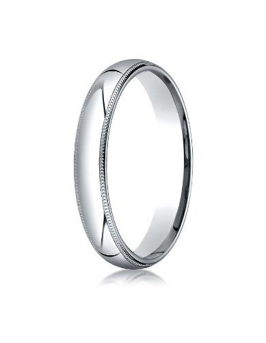 (Men's 14K White Gold 4mm Slim Profile Comfort Fit with Milgrain Wedding Band Ring, Size)