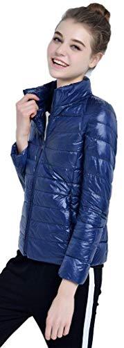 Tasche Marineblau Trapuntata Con Monocromo Di Outwear Donna Marca Collo Alta Invernali Qualità Leggero Laterali Mode Bolawoo Lunga Giacca Piumino Outerwear Caldo Coreana Cerniera Manica XqXa6g
