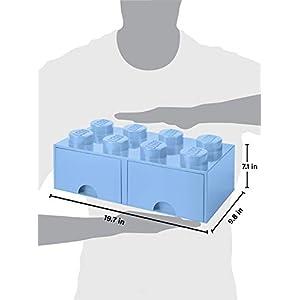 LEGO Brick Drawer, 8 Knobs, 2 Drawers, Stackable Storage Box, Light Royal Blue