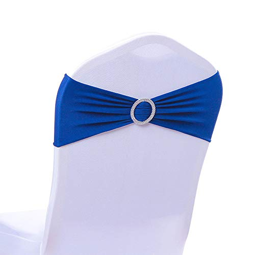 Calababy 20/50/100PCS Wedding Chair Decorations Stretch Chair Bows, Buckle Slider Sashes Bows Decorations (Royal Blue, ()