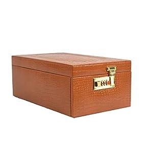 Stones Bridge Exclusive Genuine Leather Big Locker Jewellery Box/Jewellery Storage Box (Tan)